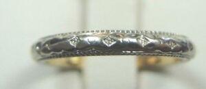 Antique-Vintage-Art-Deco-Women-039-s-Wedding-Band-18K-Two-Tone-Ring-Size-5-MFG-RH