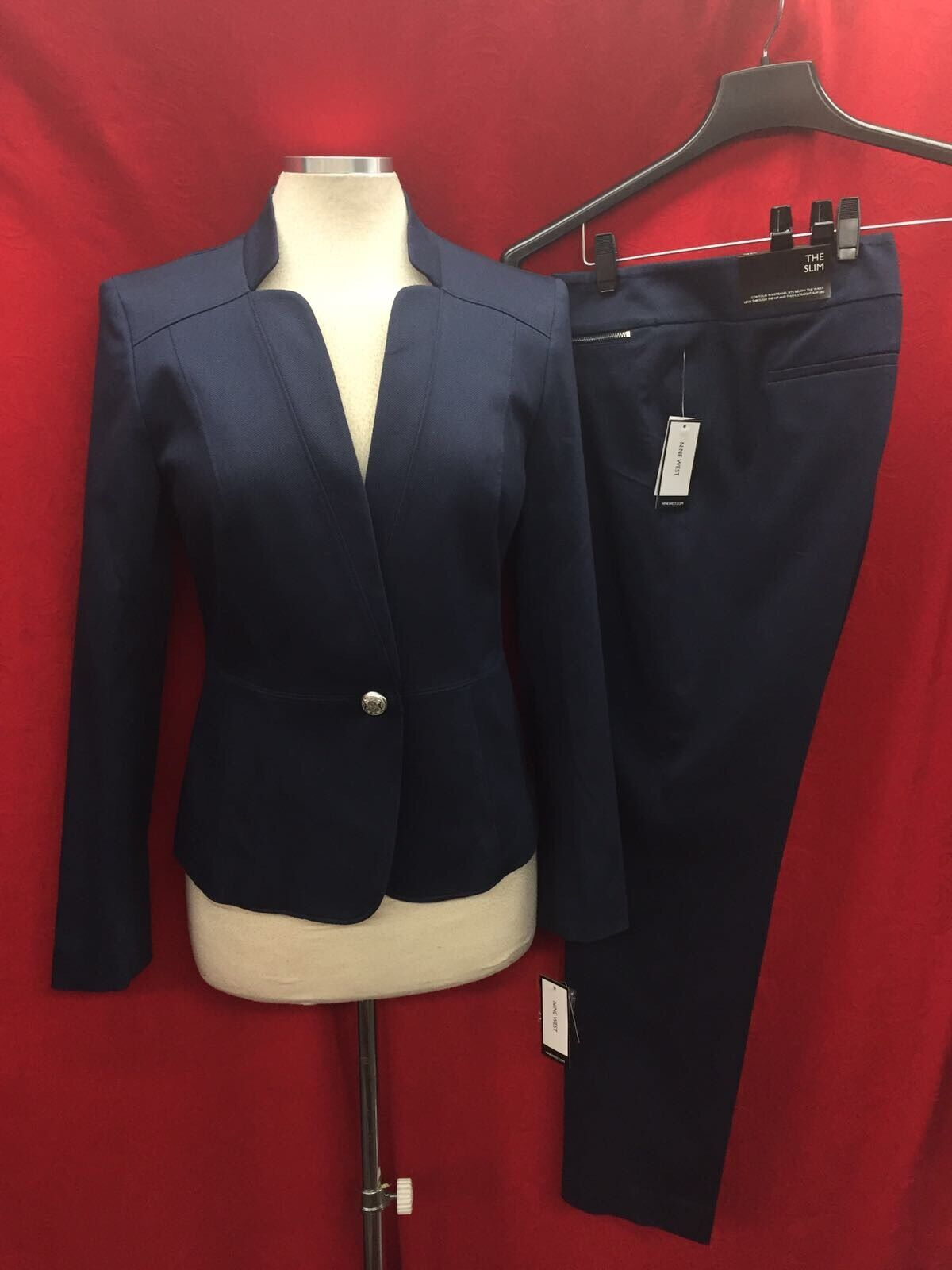 NINE WEST PANT SUIT NEW WITH TAG SIZE 4 INSEAM 31' NAVY BLAZER LINED COTTON