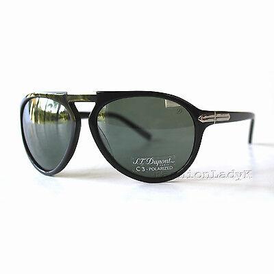 Made in France! New S.T. Dupont Men's Black Gray Aviator Sunglasses ST 013 C 2