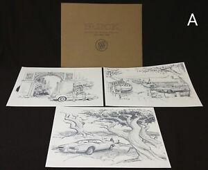 NOS-Original-Buick-Riviera-1971-1963-1949-Dealer-Portfolio-3-Charcoal-Prints