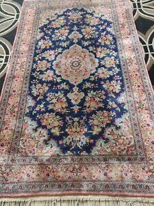 Handmade Indian Kashmir Silk Rug 5x3 Ft