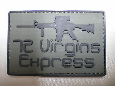72 Virgins Express PVC Patch Military Tactical Combat Morale Punisher Patch