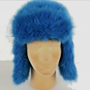793e00af5a5 SO Brand Blue Faux Fur Trapper Hat with Ear Flaps Size Small