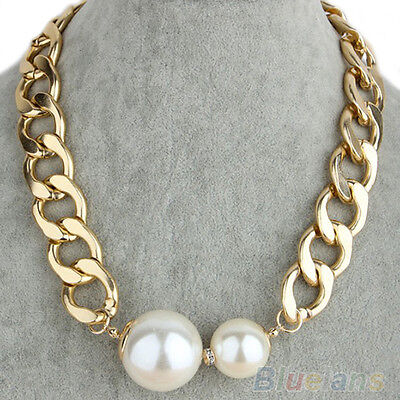 Hot Sale Cool Sexy Nobby Chain Big Pearls Golden Choker Statement Necklace B48U