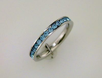 Sky Blue Topaz CZ Stackable Eternity Band Comfort Fit Stainless Steel