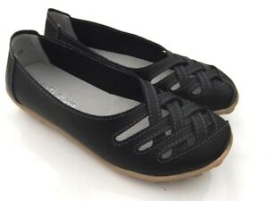 BLACK-Sz-7-AUYI-Nodule-Sole-FULL-LEATHER-SLIP-ON-Loafer-CASUAL-Walk-FLATS-SHOES