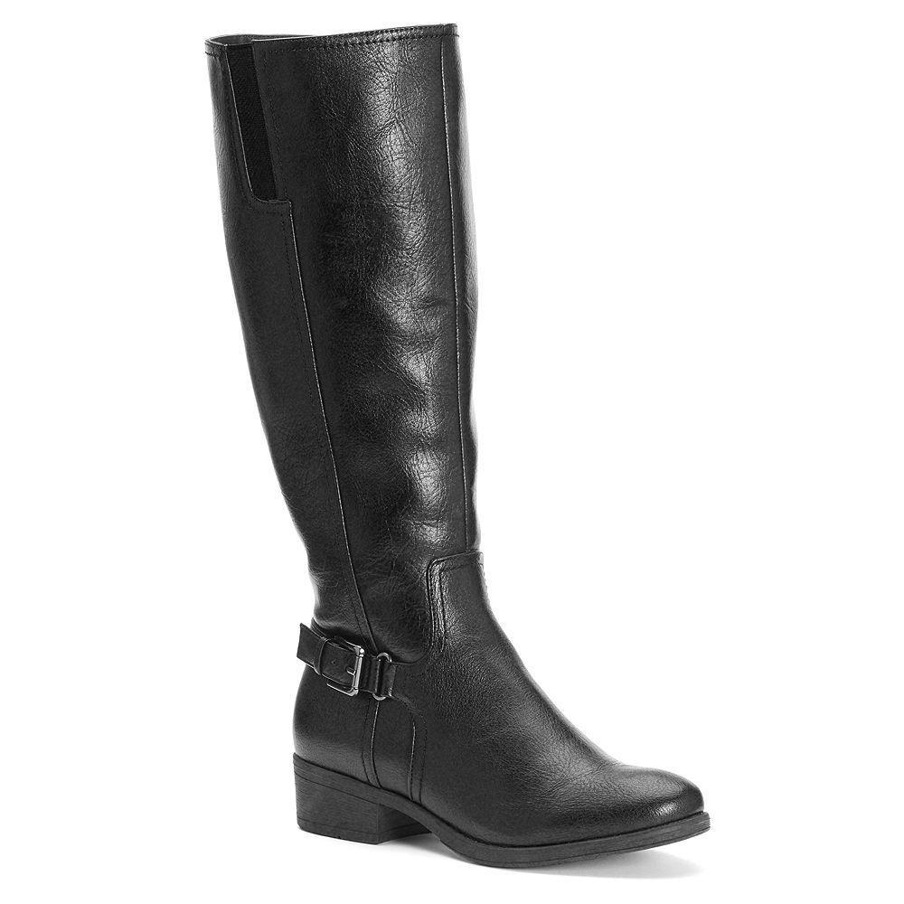 mujer CROFT & BARROW Wide Calf Tall Riding botas Knee High negro sz 10 Med