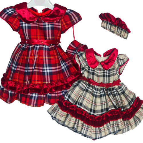 Baby Girls Wine Red Beige 2pc Special Occasion Tartan Party Dress