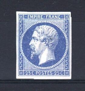 FRANCE-YVERT-15-SCOTT-17-034-EMPEROR-NAPOLEON-25c-BLUE-1853-034-MNG-F-SIGNED-T201