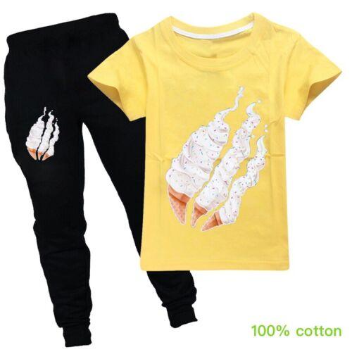 Kids PrestonPlayz 2pcs Ice-Cream Hoodies T-shirt Trouser Tracksuit Outfit Gift