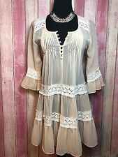 A'reve ANTHROPOLOGIE Ivory RARE Crochet Lace Detail Sheer Boho Hippie Dress S