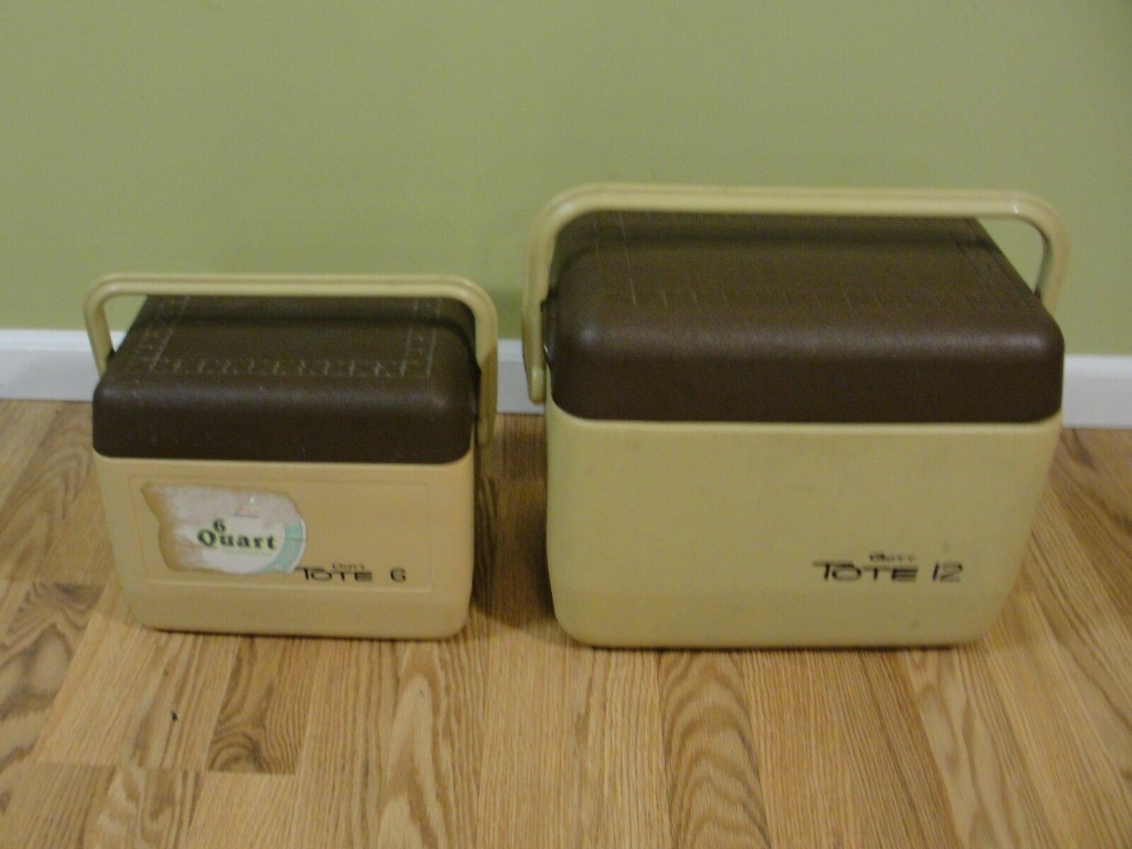 Vintage GOTT Tote 12 & Tote 6  Brown Tan Cooler Lunch Box Model 6&12 qt USA