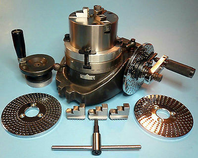 "4"" Rotary Table + Dividing Plates + 3-Jaw x 3-1/4"" Chuck On Back Plate New"