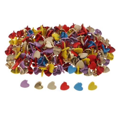 200pcs Colorful Heart Metal Brads Scrapbook Paper Fastener Decorative Brads