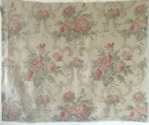Beautiful-1930-039-s-French-Printed-Linen-Floral-Fabric-2621