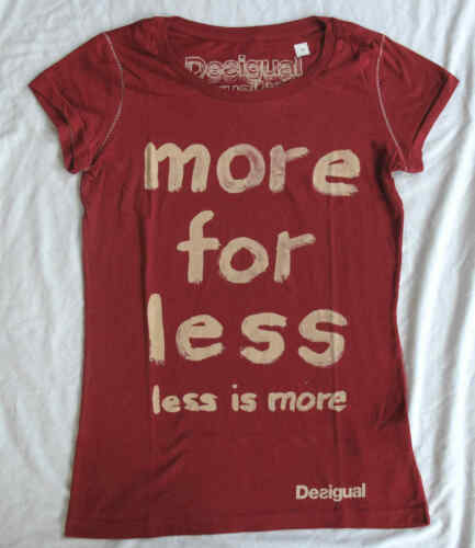 T-Shirt Red /'more for less/' Bargain Ladies DESIGUAL Short Sleeve Top