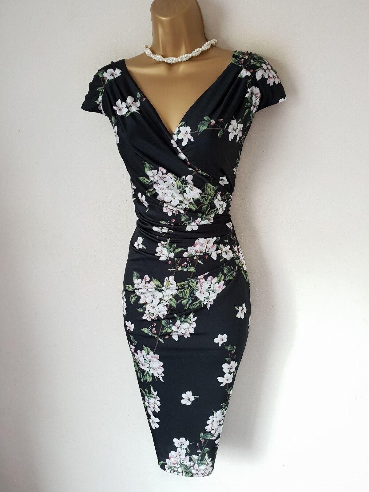 PHASE EIGHT schwarz Floral Blossom Slinky Stretch Wiggle Dress UK 16