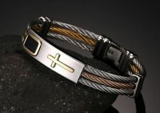 Mens Stainless Steel Twisted Cable Wire Cross Leather Bangle Bracelet +Box BR133