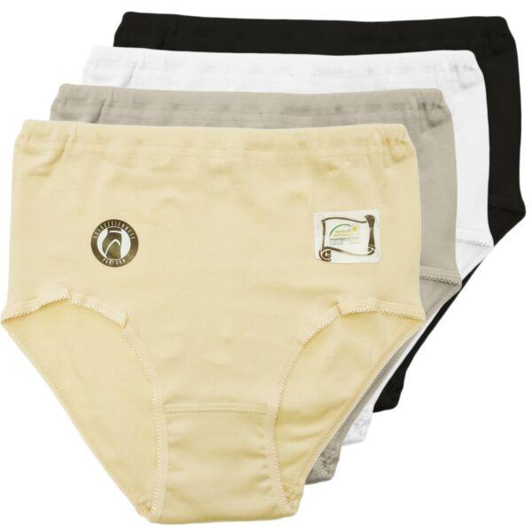 Damen Slip – Taillenslip aus Baumwolle + Elasthan 3er Pack – Damen Unterhose uni