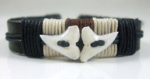 "9/"" FA019-A Genuine MAKO SHARK TOOTH TEETH Surfeur Plage Cuir Bracelet Manchette 6/"""