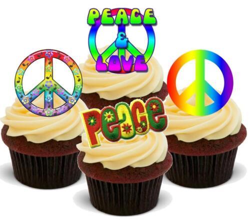 Nouveauté peace /& love mix 12 debout comestibles gâteau toppers anniversaire hippy années 60 cnd