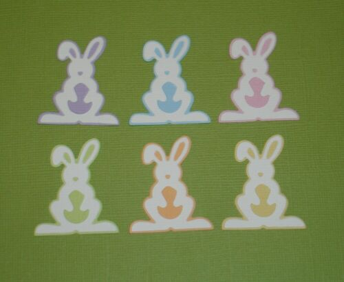 6 x PASTEL BUNNY DIE CUTS EMBELLISHMENTS FULLY ASSEMBLED EASTER EGG BUNNIES
