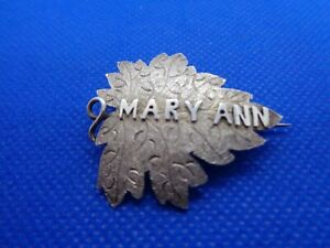 ANTIQUE-VICTORIAN-SILVER-NAME-BROOCH-MARY-ANN