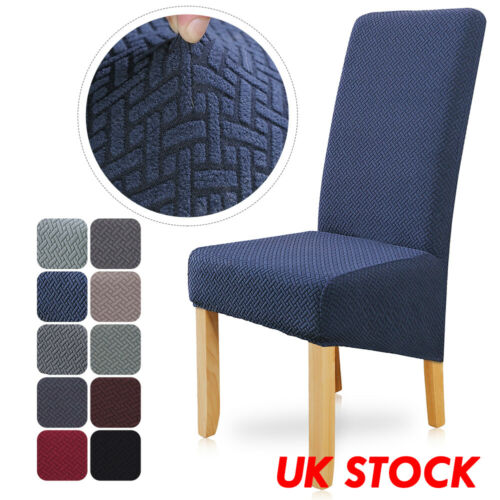 Top Quality KNITTED Stretch Dining Chair Covers Seat Covers Slip Removable gray