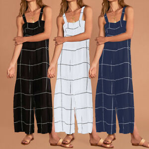 Women-Playsuit-Casual-Sleeveless-Plaid-Party-Strap-Jumpsuit-amp-Romper-Trouser-Pants
