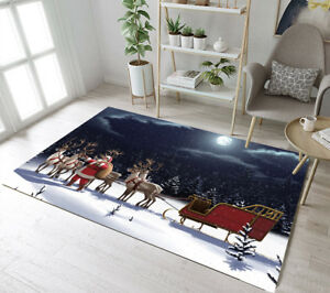 Santa Sled Christmas Night Area Rug Room Carpet Modern Floor Rugs