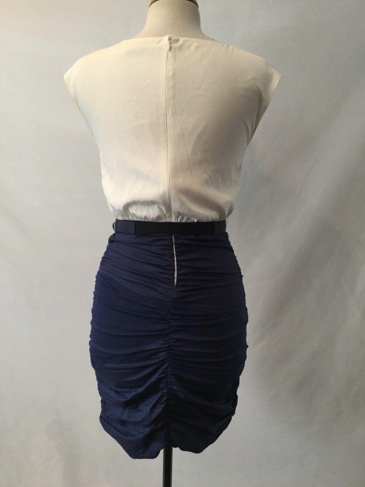 NWT ALICE & OLIVIA MOLY MOD MOD MOD NAVY COMBO DRESS W  BELT- SIZE 6 08b86f