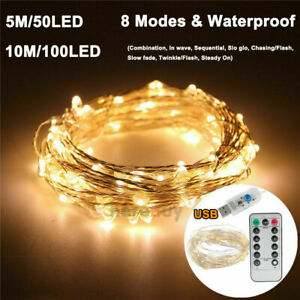 5//10//20M LED USB Remote Copper Wire String Lights Xmas Party Fairy Light White