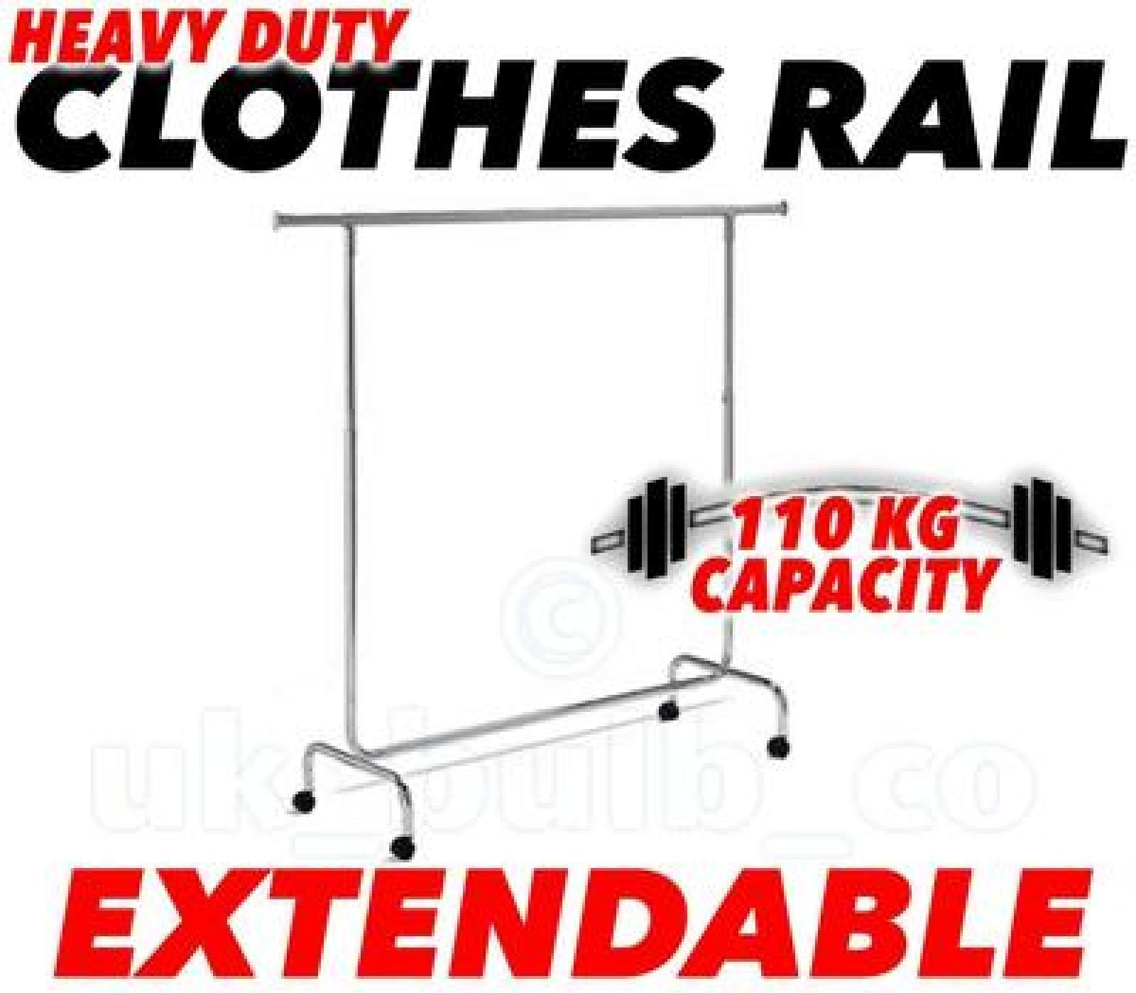 6' Heavy Duty Kleiderstange bis zu 110kg Ausziehbarer Höhe & Länge 6ft 179cm