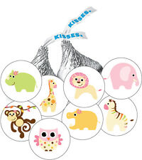 108 Jungle Animal Baby Girl Shower Favor Stickers for Hershey Kisses -8 designs