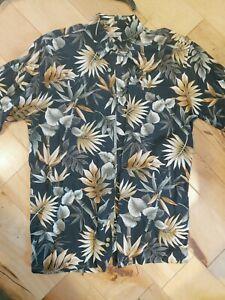 Vintage Hollis River Rayon Shirt Med Blumendruck Urlaub Tiki Aloha Hawaii