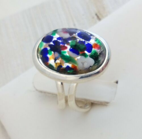 Silver Plated Adjustable Ring Vintage 1950s Black Fire Opal Art Glass