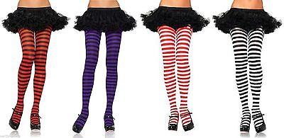 Black Striped Tights Purple Pink Red Blue Fancy dress  Ringer Adult Halloween