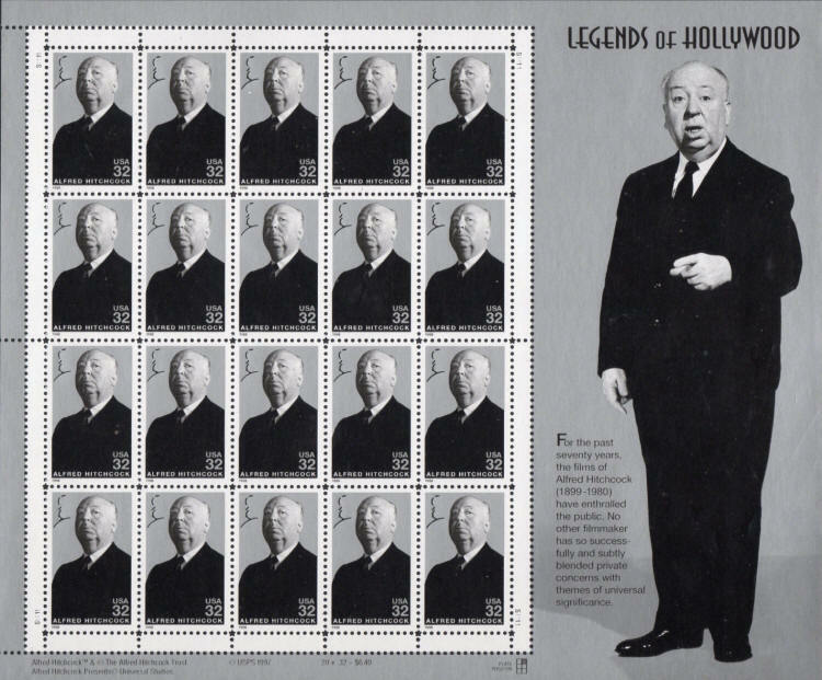 1998 32c Alfred Hitchcock, Legends of Hollywood, Sheet