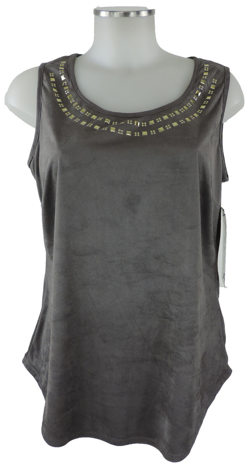 Frank Lyman Shirt 38 (D) 10 (US) Top in Wildlederimitat beigegrigio Polyester neu