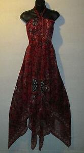 Dress-XL-1X-Plus-Sundress-Red-Black-Paisley-Lace-Up-Chest-Layered-Hem-NWT-177