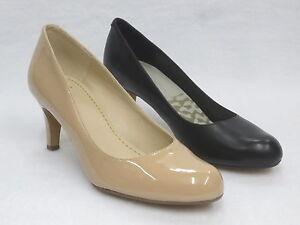 OFERTA Clarks Mujer Zapatos de salón tacón Arista Abe Cuero Negro / Charol NUDE