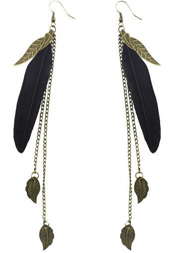 F1932 fashion black Feather bronze leaf chain light dangle earrings New