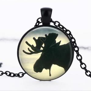 Moose silhouette en verre noir cabochon Chaîne Collier Sautoir Pendentif Wholesale