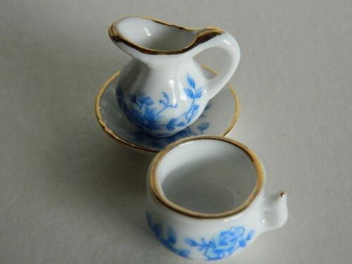 M6.19 pichet et pot échelle 1//12th maison de poupées Chine Wash Bowl
