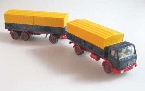 Wiking 1:87H0,Mercedes NG Stahlpritschen Lastzug stahlblau Lechtoys Sondermodell