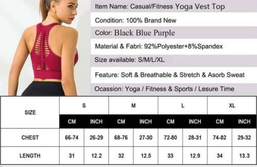 Women/'s Yoga Sports Bra Padded Fitness GYM Tops Running Seamless Running Crop D5