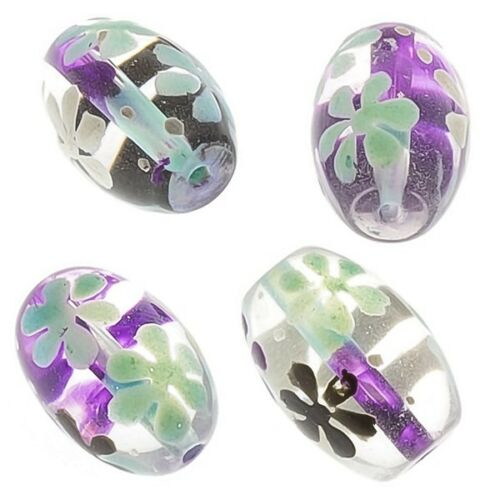 Purple And Blue Flower Clear Oval Glass Beads 18mm Pack of 4 E95//1