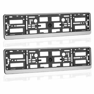 2-x-SILVER-EFFECT-NUMBER-PLATE-HOLDER-SURROUND-CAR-ABS-PC-Plastic