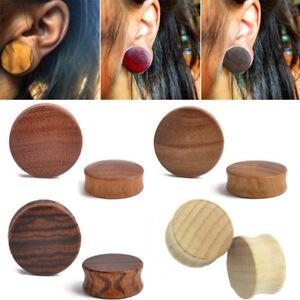 PUNK-CONVEX-ARENG-WOOD-PLUGS-ORGANIC-FLESH-TUNNELS-EAR-GAUGES-EAR-PLUGS-5-STYLE