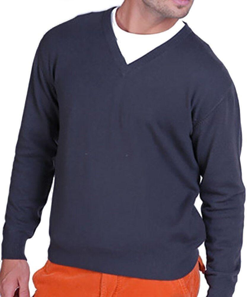 Balldiri 100% Cashmere Herren Pullover V Ausschnitt anthrazit XL